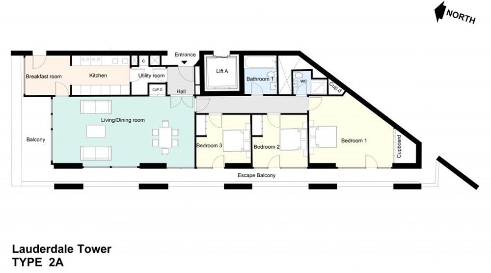 Type 2A Barbican flat