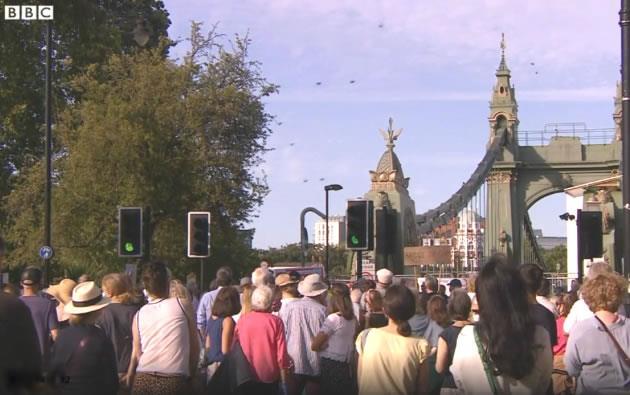 Protestors gather near Hammersmith Bridge
